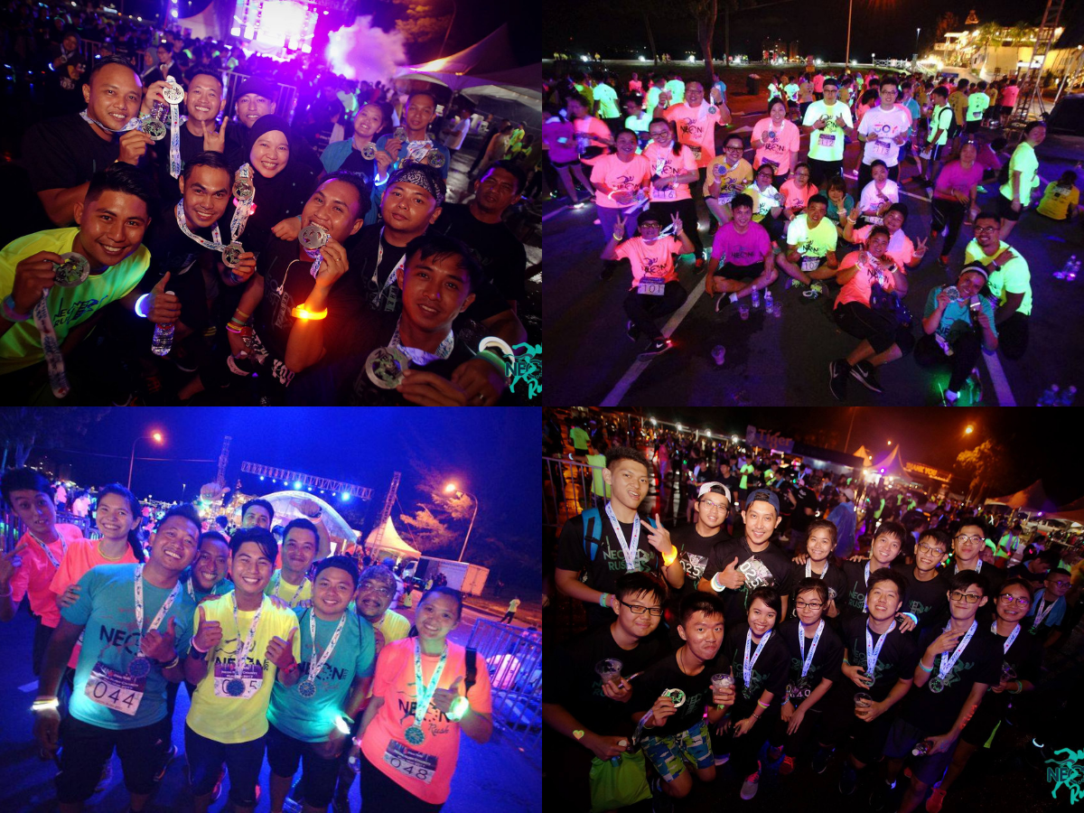 neon rush marathon finishing